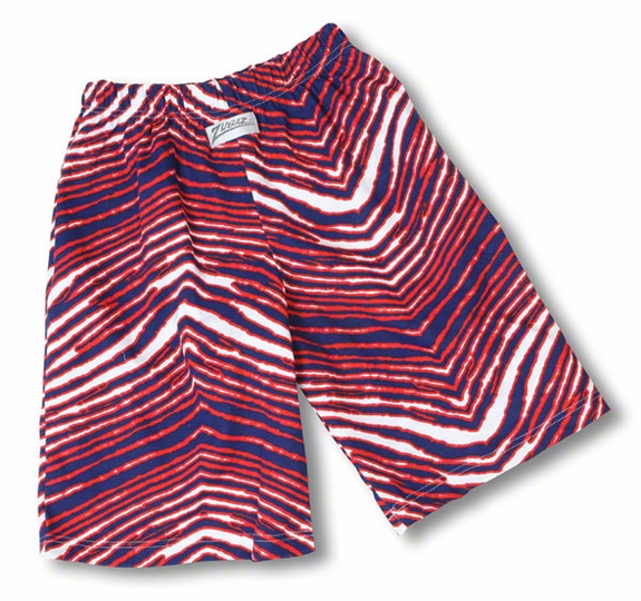 Zubaz Shorts: Blue/Red Zubaz Zebra Shorts