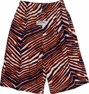 Zubaz Shorts: Navy/Orange Zubaz Zebra Shorts- Sold Out