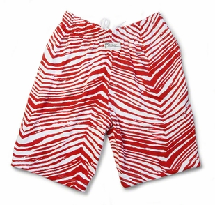 Zubaz Shorts: Red/White Zubaz Zebra Shorts