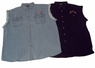 T. Micheal Sleeveless Denim/Twill Shirt- #209SL- Factory Direct