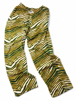 Zubaz Pants: Green/Gold Zubaz Zebra Pants- Sold Out