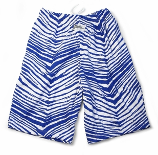 Zubaz Shorts: Royal Blue/White Zubaz Zebra Shorts