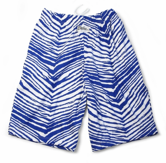 Zubaz Shorts: Royal Blue/White Zubaz Zebra Shorts- Sold Out