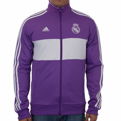adidas Real Madrid 3 Stripe Track Top - Ray Purple - Click to enlarge