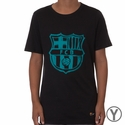 Youth Nike FC Barcelona Crest Tee - Black/Energy