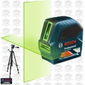 Bosch GLL100 Self-Leveling Green-Beam Cross-Line Laser w/Tripod Base