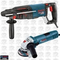 "Bosch Tools 11255VSR-GWS8 1"" SDS-plus Rotary Hammer + 4.5"" Angle Grinder"