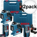 Bosch Tools GLL3-80+LR2 2x 3 Plane Leveling and Alignment Laser w/ Receiver