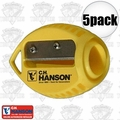 C. H. Hanson 00202 5pk VersaSharp Carpenter Pencil Sharpeners Flat or Round'