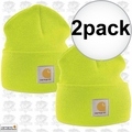 Carhartt A18 2pk Bright Lime Acrylic Watch Cap One Size Fits All