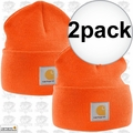 Carhartt A18 2pk Bright Orange Acrylic Watch Cap One Size Fits All