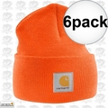 Carhartt A18 6pk Bright Orange Acrylic Watch Cap One Size Fits All