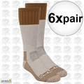 Carhartt A66 6pk Cold Weather Boot Sock Pairs Brown Large