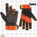 Custom Leathercraft L145 2pk Safety Viz Pro Illuminated Work Gloves X-Large
