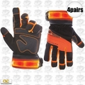 Custom Leathercraft L145 4pk Safety Viz Pro Illuminated Work Gloves Large