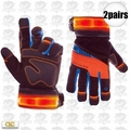 Custom Leathercraft L173 2pk Winter Viz Pro Illuminated Work Gloves Large