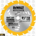 "DeWalt DW3161 6-1/2"" x 18 Tooth ATB Carbide Circular Saw Blade"