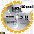 "DeWalt DW3578 100pk 7-1/4"" x 24 Tooth Framing Saw Carbide Circular Saw Blade"