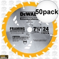 "DeWalt DW3578 50pk 7-1/4"" x 24 Tooth Framing Saw Carbide Circular Saw Blade"