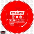 "Diablo D1080X 10"" x 80 Tooth Ultra Finish Blade"
