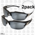 Edge Eyewear SDK117 2pk Khor Safety Glasses Black with Silver Mirror Lens