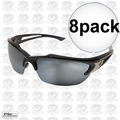 Edge Eyewear SDK117 8pk Khor Safety Glasses Black with Silver Mirror Lens