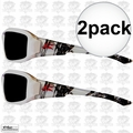 Edge Eyewear TXB246 2pk Brazeau Safety Glasses, White w/ Smoke Lens