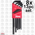 "Eklind 10213 8x 13pc Set Long Hex Keys .05"" to 3/8"""
