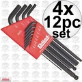 Eklind 13212 4x 12pc Long Arm Ball End L-Hex Key Set