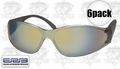 ERB 15406 6pk Boas Brown Silver Mirror Lens Safety Glasses