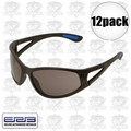 ERB 16671 12pk Safety Glasses Erban Black - Smoke Lens