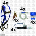 FallTech 8595A 4x 5pc Contractor Complete Roofer's Kit