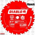 "Freud D0724A 10pk 7-1/4"" x 24T Diablo Carbide Framing Saw Blade"