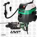 "Hitachi DH28PFY 1-1/8"" SDS+ Low Vib Rotary Hammer w/HEPA Vac+Dust Collection"