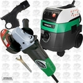 Hitachi G12SA3 4-1/2-Inch 8-Amp Angle Grinder w/HEPA Vac+Dust Collection