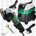 "Hitachi G12SE2 4-1/2"" 9.5-Amp AC/DC Angle Grinder w/HEPA Vac+Dust Collection"