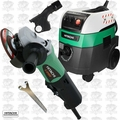 "Hitachi G12SE2 4-1/2"" 9.5A AC/DC Angle Grinder w/HEPA Vac+Dust Collection"