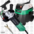 "Hitachi G12SQ 4-1/2"" 7.4-Amp Angle Grinder w/HEPA Vac+Dust Collection"