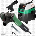 Hitachi G12VE 4-1/2'' AC Brushless Angle Grinder w/HEPA Vac+Dust Collection
