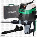 Hitachi H41MB 8.2 Amp SDS-Max Demolition Hammer w/HEPA Vac+Dust Collection