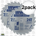 "Irwin 15130 2pk 7-1/4"" x 24 Tooth Carbide Circular Saw Blade"