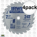 "Irwin 15130 4pk 7-1/4"" x 24 Tooth Carbide Circular Saw Blade"