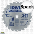 "Irwin 15130 8pk 7-1/4"" x 24 Tooth Carbide Circular Saw Blade"
