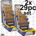 Irwin 3018003 2x 29pc Titanium Metal Drill Bit Set