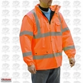 Majestic 75-1304-L Large Hi-Vis Parka Fleece Lined Orange Cold-Weather