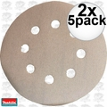 "Makita 794521-9 2x 5pk 5"" x 180 Grit 8 Hole Hook + Loop Abrasive Discs"