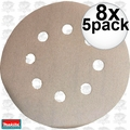 "Makita 794521-9 8x 5pk 5"" x 180 Grit 8 Hole Hook + Loop Abrasive Discs"