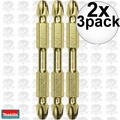 "Makita B-39584 2x 3pk Impact GOLD #2 2-1/2"" Phillips Power Bits Double-Ended"