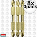 "Makita B-39584 8x 3pk Impact GOLD #2 2-1/2"" Phillips Power Bits Double-Ended"