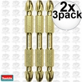 "Makita B-39590 2x 3pk Impact GOLD #3 2-1/2"" Phillips Power Bits Double-Ended"